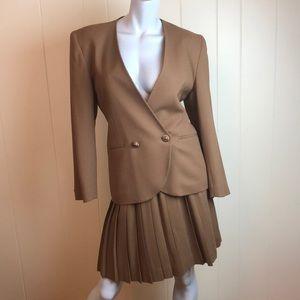 Vintage 80s/90s Tan Brown Wool 2pc Skirt Suit Set